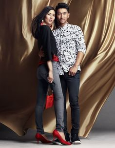 Liu Wen and Choi Siwon wearing party ready looks for H&M Chinese New Year 2015 campaign
