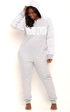 Deb Junior Plus Size Whatever Onesie with Fair Isle Print Sleeves and Hood This plus size onesie features Fair Isle print details at the sleeves and hood and Lazy Day Outfits, Sexy Outfits, Plus Size Outfits, Cute Outfits, Autumn Fashion Curvy, Curvy Girl Fashion, Plus Size Fashion, Junior Plus Size, Plus Size Girls