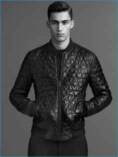 Alessio Pozzi rocks a quilted leather jacket from Versace