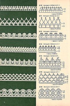 These free crochet tips are always helpful to use in dish towels, napkins or even in swaddling babies or crochet fronhas. Tina s handicraft 128 designs patterns for trimmings 121 Models of Nozzles and Barred in Crochet for you Crochet Border Patterns, Crochet Lace Edging, Crochet Diagram, Lace Patterns, Crochet Designs, Crochet Doilies, Crochet Flowers, Crochet Mandala, Filet Crochet