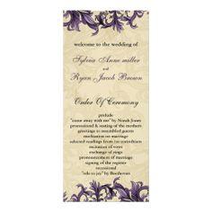 purple Wedding program Rack Card Design