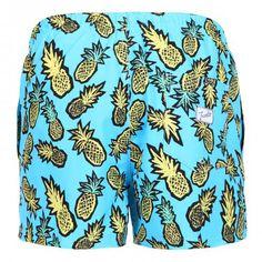 SWIM SHORTS WITH PINEAPPLE PRINT - Polyester Boardshorts with all-over pineapple print. Elastic waistband with adjustable drawstring. Back pocket with Frank's label detailing. Internal net.  #mrbeachwear #uomo #men #onlineshop #franks #boardshort #summer #fashion #swimwear  #style #springsummer2014 #summer2014 #pineapple
