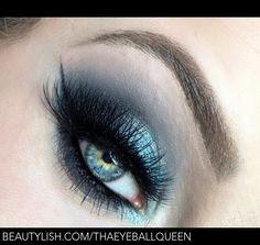 Smokey Blue Glittery Hues Makeup Tutorial FT. Urban Decay Alice Through the Looking Glass Eyeshadow Pallet   Lillee T.'s (THAEYEBALLQUEEN) Photo   Beautylish