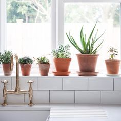 """""""Love this pretty kitchen window sill from my shoot earlier this week in Londo… - Modern Plants On Window Sill, Tiled Window Sill, Window Ledge Decor, Kitchen Garden Window, Kitchen Window Sill, Tile Around Window, Bathroom Windows, Cool Kitchens, Luxury Kitchens"""