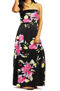 77a63e14d434 Women s Strapless Long Maxi Dresses Floral Print Casual Dress     To view  further