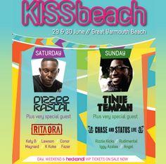 Kissbeach Festival @ Great Yarmouth Beach on 29th and 30th June.