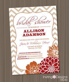 bridal shower invitation wedding shower chevron floral orange red fall tan vertical printable custom order instant download