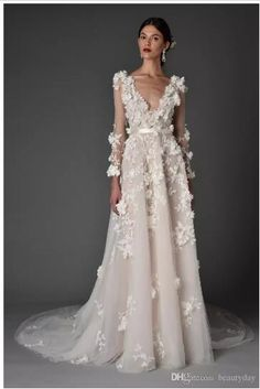 Choosing the perfect wedding gown is a major task. Check out these beautiful dresses from New York Bridal week for some elegant ideas! Most Beautiful Wedding Dresses, Dream Wedding Dresses, Bridal Dresses, Wedding Gowns, Lace Wedding, Trendy Wedding, Elegant Wedding, Peacock Wedding, Backless Wedding