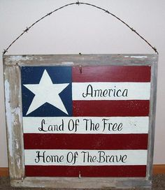 Vintage Hand Painted Window America Land of the Free Home of the Brave.