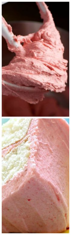 Fresh Strawberry Frosting ~ Sweet, but not too sweet, and versatile for all sorts of cakes and decorating purposes... It thickens nicely for a pipe-able frosting and it thins out beautifully for a strawberry icing that can be poured over a cake