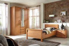 Schlafzimmer SAPHIR in Buche Nachbildung bestehend aus Drehtürenschrank: 3-türig, ca. 150 x 222 x 62 cm, Einzelbett: ca. 100 x 200 cm, Nachtschrank: 49 x 54 x 43 cm