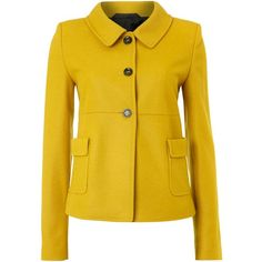 Oui Two pocket jacket (9.490 RUB) ❤ liked on Polyvore featuring outerwear, jackets, coats, blazers, yellow, coats & jackets, blazer jacket, long sleeve blazer, yellow blazer and collar jacket