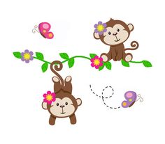 SAFARI NURSERY DECOR Hanging Monkey Vine Decal Girl Wall Art Mural Jungle Animals Room Baby Shower Decorations Kids Childrens Bedroom #decampstudios #nurserydecor #monkeynursery #safarinursery #junglenursery #girlmonkey