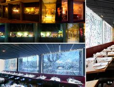 Mirka's Artwork, reverse blind system, printed blind, restaurant signage, day and night collage, Peter Elliot Architecture