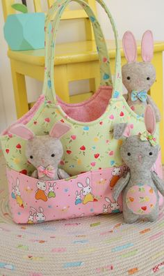 Ric Rac PATTERN sweet bag and softie toy PATTERN Bag O/' Bunnies