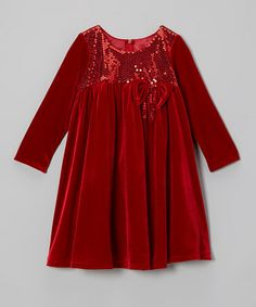 Take a look at this Red Velvet Sequin Bow Dress - Toddler & Girls by Sophia Young on #zulily today!