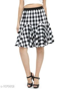 Skirts Beautiful Cotton Skirt  *Fabric* Cotton  *Waist Size* 34 in, 36 in, 38 in,40 in, 42 in, 44 in  *Length* Up To 30 in  *Type* Stitched  *Description* It Has 1 Piece Of Skirt  *Work* Checkered  *Sizes Available* 26, 28, 30, 32, 34, 36, 38, 40, 42 *   Catalog Rating: ★4.1 (240)  Catalog Name: Ladies Checkered Cotton Gored Skirts CatalogID_38730 C79-SC1040 Code: 833-1070852-