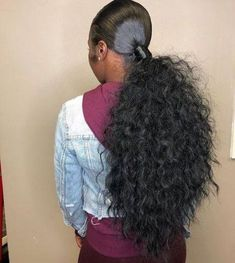 VSHOW HAIR Brazilian Human Virgin Hair Natural Wave 4 Bundles with Pre Plucked Closure Deal Natural Black unprocessed natural hair Hair Ponytail Styles, Weave Ponytail Hairstyles, Sleek Ponytail, Baddie Hairstyles, Black Girls Hairstyles, Trendy Hairstyles, Curly Hair Styles, Natural Hair Styles, Curly Ponytail