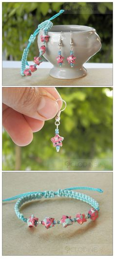 Mini origami star jewelry set, Origami star earrings and bracelet, Chinese lucky star Source by Bracelet Origami, Quilling Jewelry, Origami Owl Jewelry, Paper Jewelry, Mini Origami, Paper Crafts Origami, Origami Art, Star Jewelry, Jewelry Sets