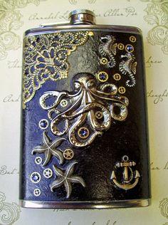 Stainless Steel Flask Kraken Octopus/Nautical Design - Black Glazed Antiqued Leather - Swarovski Crystals.