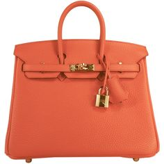 Pre-Owned Hermes Baby Birkin Bag 25cm Poppy Orange Red Togo Leather. f139cf6b16