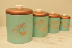 Vintage 1950s Ransburg Rooster and Daisies Turquoise and Gold Canister Set on Etsy, $44.00