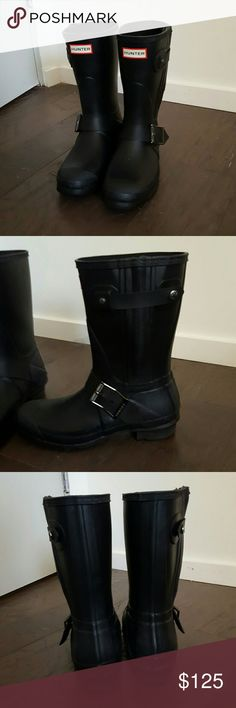 Hunter Moto Rain Boots Hunter short rain boots with buckles and zippers down the side that add to the moto vibe. EUC, purchased recently but realized I'm not a rain boot person. Price is firm! Hunter Boots Shoes Winter & Rain Boots