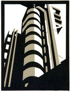 Limited edition linocut Lloyds II by contemporary British printmaker Paul Catherall. Linocut Prints, Art Prints, Block Prints, Linoprint, Photocollage, Building Art, A Level Art, Gcse Art, Architectural Features