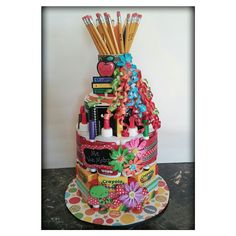 School Supply Cake! Made this for my daughter's student teacher who's graduating and will have her own classroom soon.