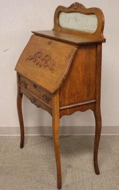 Antique 1910 Oak Slant Front Mirrored Secretary Desk