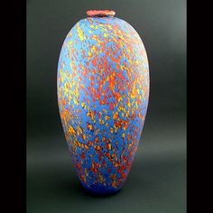 """Pismo Fine Art Glass  Colin Heaney  The name of this piece is Blue Lava. It's 24"""" tall. It's an Ohhh, Ahhh!"""