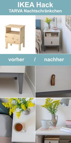 The IKEA Kallax series Storage furniture is an essential section of any home. They provide order and help you keep track. Stylish and delightfully simple the rack Kallax from Ikea , for example. Bedside Table Makeover, Bedside Table Ikea, Ikea Furniture Makeover, Ikea Furniture Hacks, Diy Nightstand, Ikea Makeover, Furniture Projects, Diy Furniture Table, Furniture Cleaning