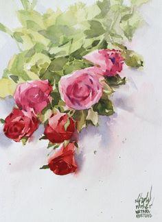 Watana Kreetong Pink and red roses/2016 28x38cm