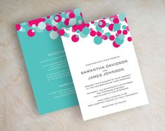 Fuchsia and turquoise polka dot wedding invitation, aqua, teal ...