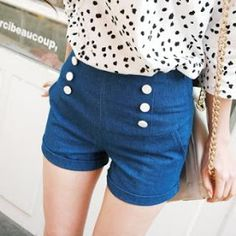 Cute high waisted shorts...if it goes to the thumbnail, it is modest. These go there!