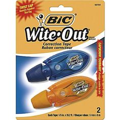 BIC® Wite-Out Micro Correction Tape, The best because it's so small, has a plastic tape backing, doesn't rely on gears to turn the wheels, and has a twist cap to protect the tip. Wite Out, Correction Fluid, Film Base, Packing, Art Therapy, Gears, Wheels, Stationery, Cap