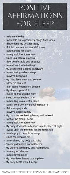 Sleep affirmations are a great way to focus your mind on the sleep process and let go of the day. Here are some powerful sleep affirmations for you to try. sleep Positive sleep affirmations to help you get the perfect night's sleep Positive Schwingungen, Affirmations Positives, Positive Affirmations Quotes, Affirmations For Women, Affirmation Quotes, Positive Thoughts, Healing Affirmations, Miracle Morning Affirmations, Positive Feelings