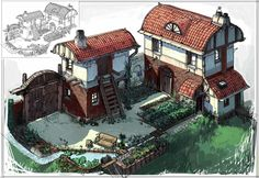 Concept Art of the Coziest Little House : CozyPlaces Building Concept, Building Design, Building Ideas, Small Buildings, City Buildings, Steampunk City, Sims Building, Medieval Houses, Fantasy House
