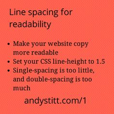 Episode 1 of Bite Size Marketing for Entrepreneurs talks about how you can use line spacing to make your website more readable. As an entrepreneur, you don't want to put up any avoidable barriers that would prevent your website visitors from reading your content. #marketing #entrepreneur #startup