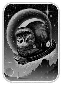 laughingsquid:  Space Ape Art Print by Tank Axe Love