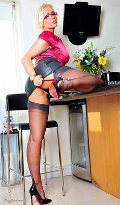 Milf lucy uk stocking heel tease