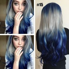 Buy New Unique Design Grey Short Straight Hair Cosplay Colorful Heat Resistant Hairs Women Purple Big Wave Wig Long Curly Hair Wigs at Wish - Shopping Made Fun White Ombre Hair, Ombre Hair Color, Blonde Color, Blue Gray Hair, Blue Grey, Frontal Hairstyles, Wig Hairstyles, Straight Hairstyles, Hairstyle Ideas