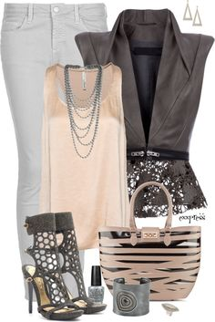 """Pink and Gray with a Vest"" by exxpress on Polyvore"