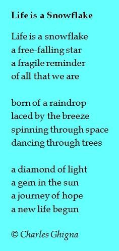 secret snowflake poem - Google Search