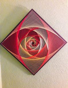 Sacred Geometry String Art Magic Eye Arte Linear, String Wall Art, Art Beat, String Art Patterns, Arts And Crafts, Paper Crafts, Spirograph, Magic Eyes, Wire Art