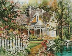 Artecy Cross Stitch. House with a Picket Fence Cross Stitch Pattern to print online.
