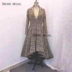 High Low Prom Dresses, Cheap Prom Dresses, Lace Applique, Dresses With Sleeves, V Neck, Gowns, Bridal, Elegant, Long Sleeve