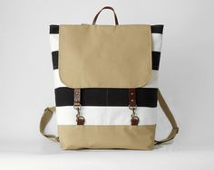 Black stripe canvas backpack laptop backpack school por BagyBags