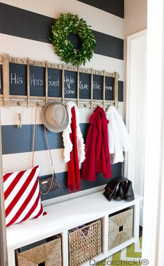 Love this idea for a mudroom! Everyone gets a spot.