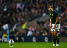 Pat Lambie of South Africa lines up a kick on goal during the QBE International match between England and South Africa at Twickenham Stadium on November 24, 2012 in London, England.
